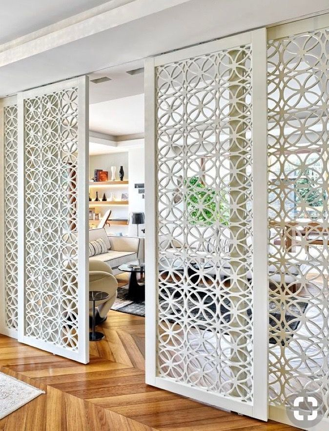 Custom Midcentury Style Geometric Room Divider By Adesso Imports In 2020 Room Divider Doors Interior Design Living Room Wood Room Divider
