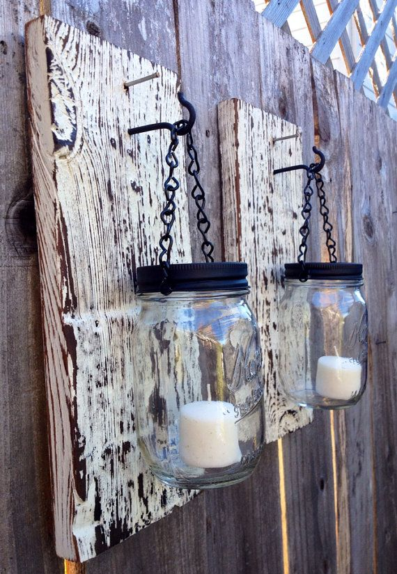 Barn wood mason jar candle holders on Etsy, $35.00