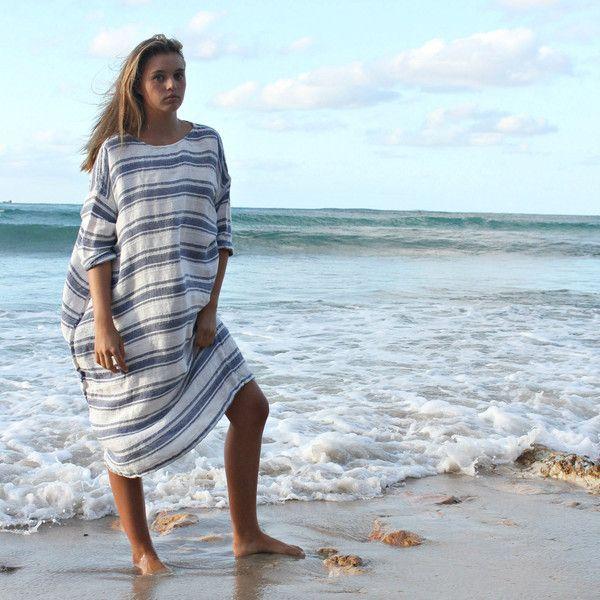 Light Weight Nautical Linen Dress ($220) ❤ liked on Polyvore featuring dresses, silver, women's clothing, striped summer dress, blue linen dress, blue beach dress, beach dresses and linen beach dresses