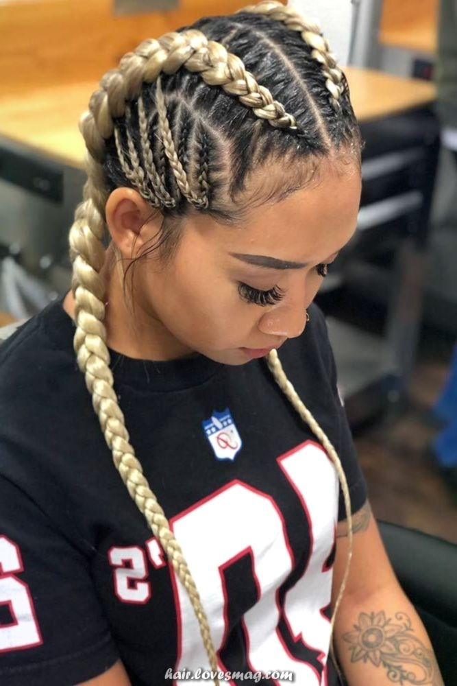 Charismatic Cute Concepts Of Cornrow Braids To Tame Your Naughty Hair Braided Hairstyles Hair Styles Two Braid Hairstyles
