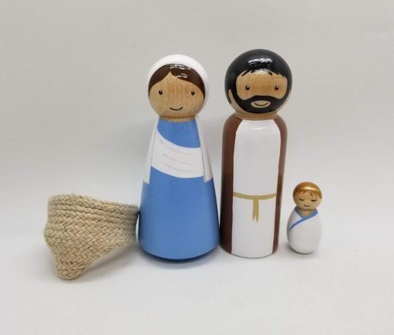 PEG bambola Maria Giuseppe e Gesù bambino Mini presepe | Etsy