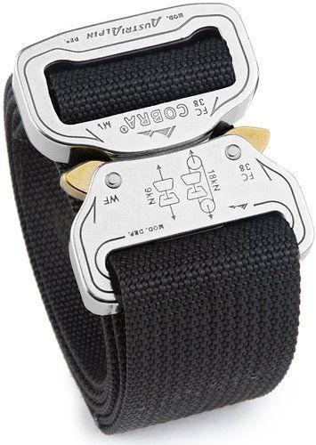 """Klik Belt World's Strongest Belt; No holes simply klik it and go. Polished Aluminum / Black; Sized 29"""" Pant Waist"""