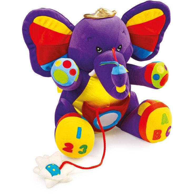 """Elefantul de pluș """"Lili"""" este o jucărie de pluș moale, prevazută cu urechi care foșnesc, picioare care guiță și flori ascunse în buzunarul de pe burtică. #babytoys #jucariibebelusi #jucariionline #plushtoy #elephant"""