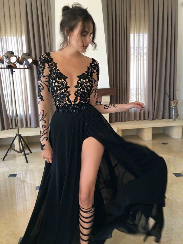 $146.89 Sexy Split Sheer Sleeves Lace Prom Dresses 2017