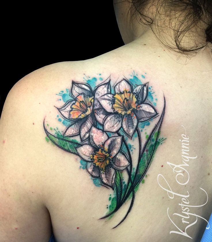 Narcissus flower tattoo watercolor