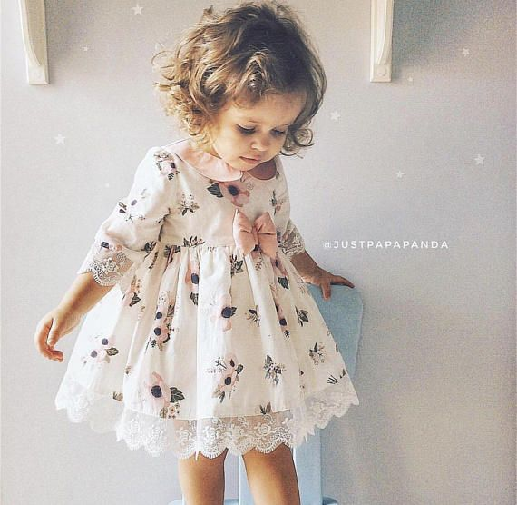 Beautiful Retro And Vintage Baby Girl Dress With Anemones