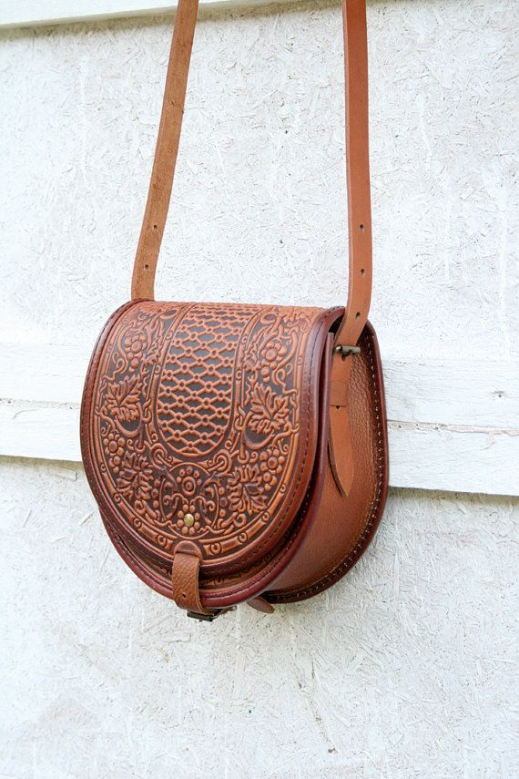 tooled light brown leather bag shoulder bag by petitJuJu on Etsy