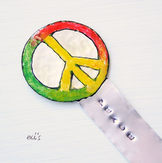 Hand Painted Red Yellow Green Peace Sign by EVIsMetalworkJewelry, €9.00