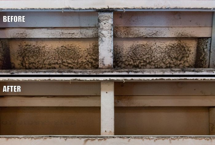 before and after photo of dirty air duct and clean air duct