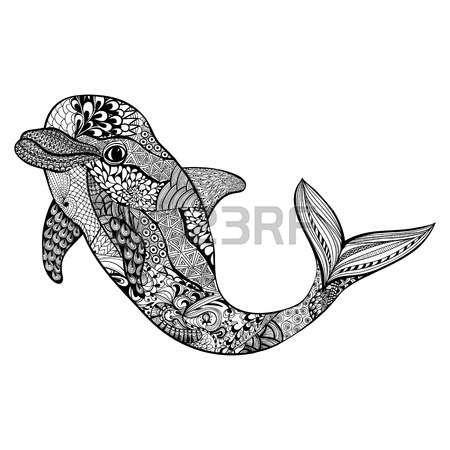 Zentangle stilize yunus. El su doodle vector illustration Çekilmiş. dövme ya da makhenda için çizin. Hayvan deniz koleksiyonu. Okyanus hayat. Çizim