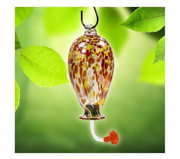 Glass Hummingbird Feeder Hand Blown Hanging 16oz Nectar Nature Gardens Bird Feed | eBay