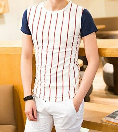 Slimming Trendy Classic Stripes and Letters Print Round Neck Color Splicing Short Sleeves Cotton Blend T-Shirt For Men Color: BLUE, RED Size: L, XL, M Category: Men > Men's T-Shirts & Vest   Material: Polyester, Cotton  Sleeve Length: Short  Collar: Round Neck  Style: Fashion  #mensstripedtshirtblackandwhite #menstshirt #tshirt #blackandwhitetshirt #bridgat.com