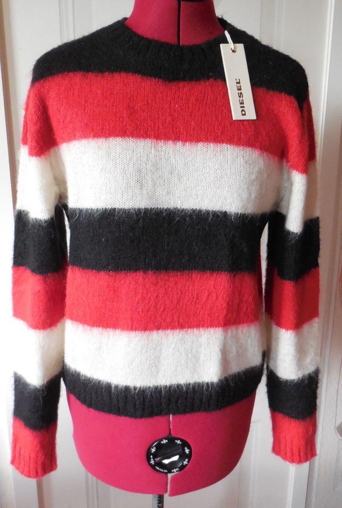 Diesel Pulli Pullover Gr.S schwarz weiß rot NEU