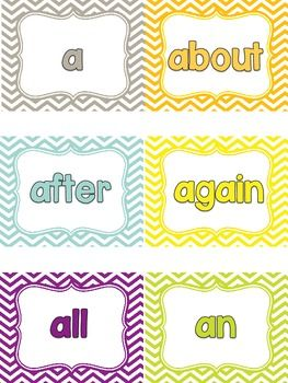 Chevron Inspired Word Wall (Headers & 300 Words)