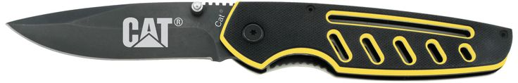 Caterpillar 91-C199CP G10 Liner Lock Knife. Limited Lifetime Warranty. Cat logo on blade. Vented handle to reduce weight. Liner lock for easy one hand closing. Titanium blade with black electro coating.