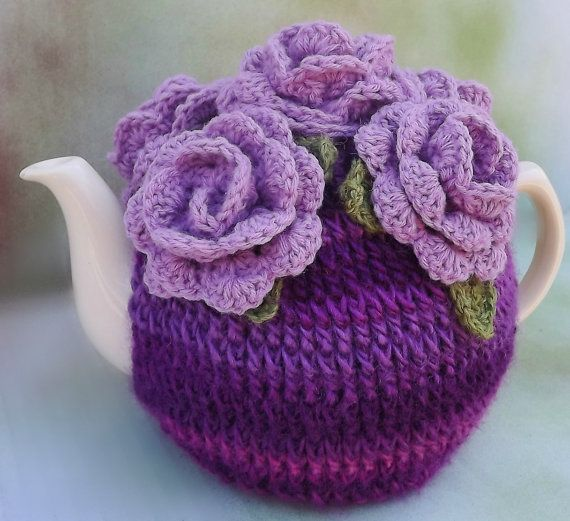 Crochet Tea Cozy Purple Roses by SunshineCottage on Etsy