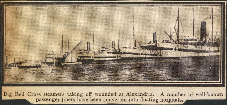 S18d: Big Red Cross steamers taking off wounded at Alexandria.  https://encore.slwa.wa.gov.au/iii/encore/record/C__Rb4056215
