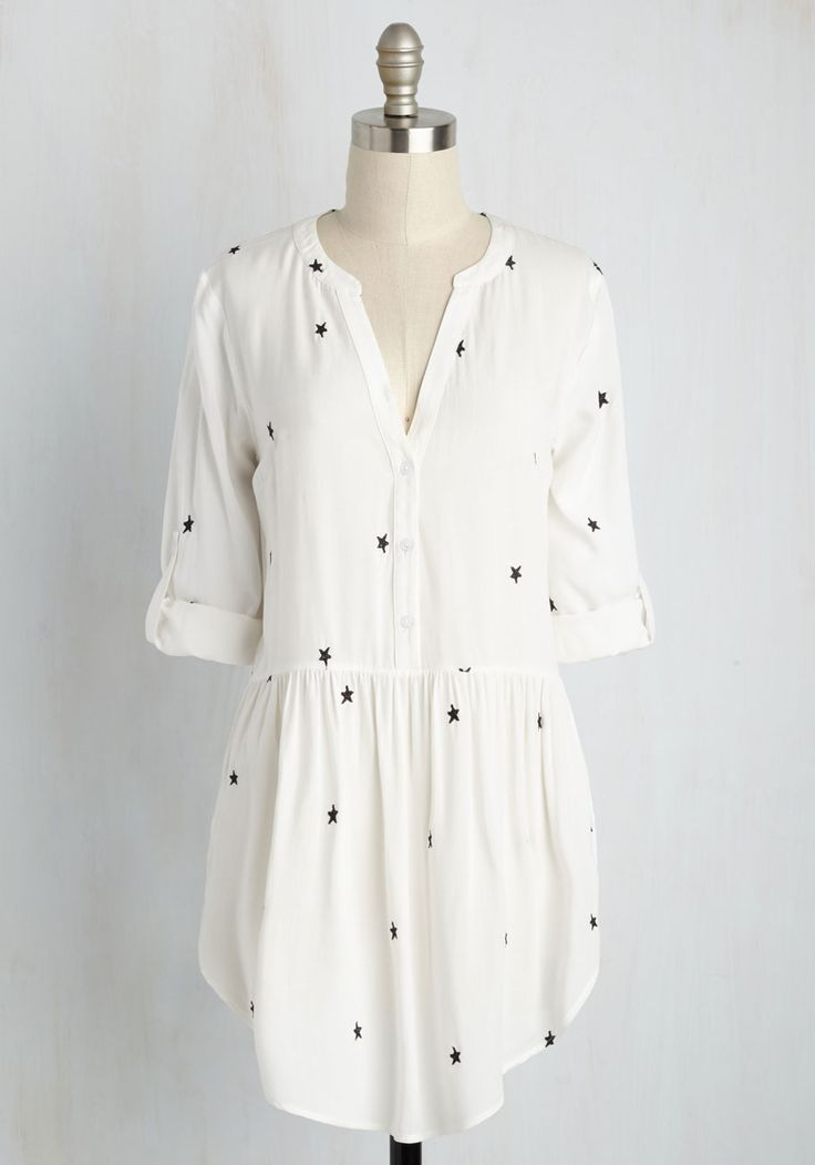 To Make a Long Starry Short Tunic - White, Novelty Print, Casual, 3/4 Sleeve, Woven, Better, V Neck, Long, Black, Buttons, Embroidery