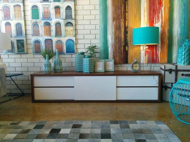 Osborne Park 2000mm At Home Furniture Retro Tv Unit Walnut And White