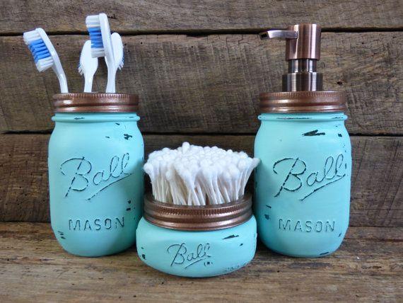 Mason Jar Bathroom Set/Turquoise & Copper Mason by MasonMeSmile, $40.00