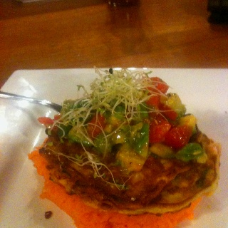 Zucchini and corn fritter with sweet potato mash and avocado salsa :)