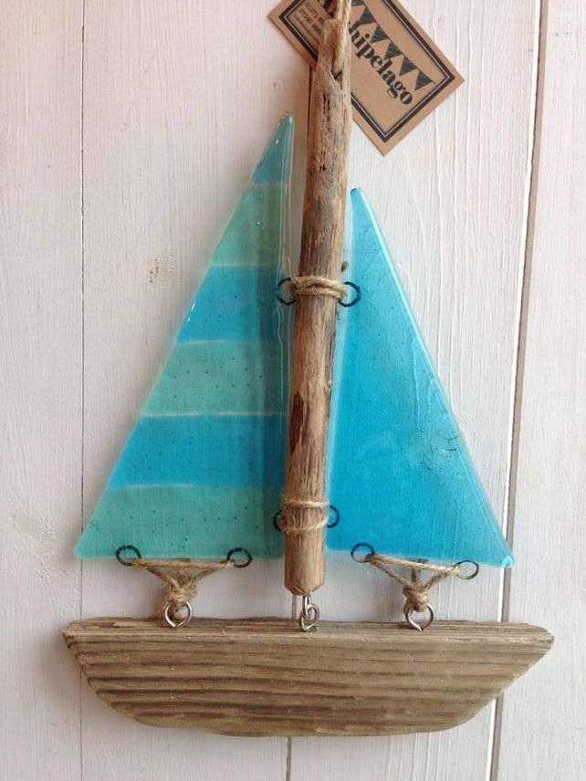 Fused glass and driftwood boat, sun catcher - Stripes £22.00