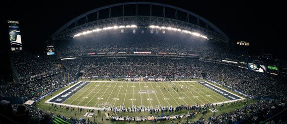 """Get 15% off with code: Pin15       TITLE: Seahawks Panoramic Print  Seattle Seahawks 2014 NFC Championship Game Panoramic Print - Seattle vs. San Francisco 49ers at Centurylink Field play to go to the Super Bowl. This was taken just after halftime of this historic game in Seattle, WA. The Seahawks went on to win this game and the 2014 Super Bowl.  Available sizes:  8.5""""x19"""" 12""""x30"""" 24""""x55"""" 2'10""""x6'5"""" (mural sized with peel and stick backing.)"""