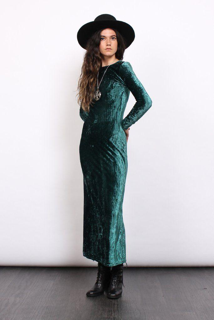 Vintage 90s Emerald Crushed Velvet Bodycon Maxi Dress