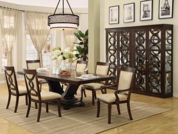 Big Drum Pendant Lamp Above Dining Room Table Centerpiece Mixed With Brown Rug Also Decorative Cabinet On Laminate Floor