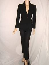 Armani Pant Suits for Women | ARMANI COLLEZIONI Womens 4 SEXY Jacket Blazer Pants Wool Black ITALY ...
