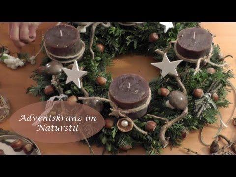 DIY - Adventskranz im Naturlook I Advents- und Weihnachtsdeko I How to - YouTube