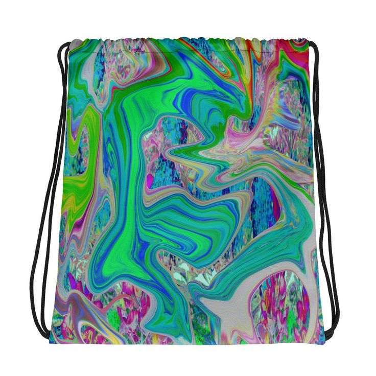 Drawstring bags colorful marbled lime green abstract