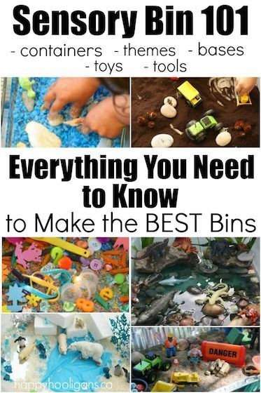 How to Make the Best Sensory Bins: Everything You Need to Know themes, containers, base materials, tools, toys, and photo examples - Happy Hooligans