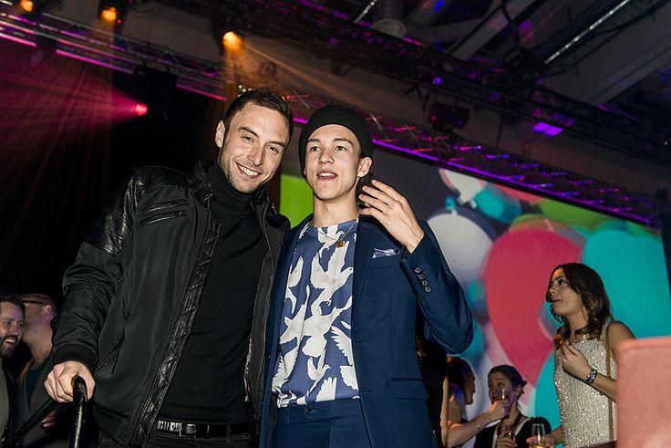Måns Zelmerlöw och Frans på Melodifestivalens finalefterfest i Stockholm.