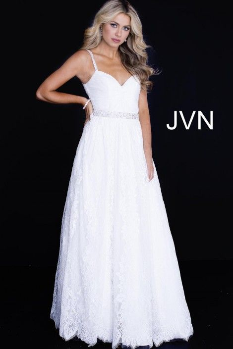 Size 16 Off White Style JVN58005 from JVN Prom is a spaghetti strap lace prom  gown with a sweetheart neckline 2e43e685d