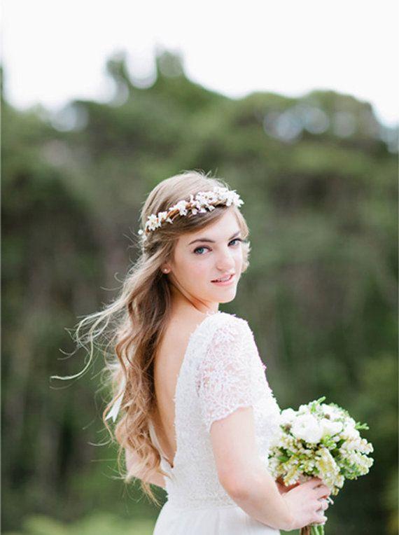 Bridal crown wedding headband Rustic boho wreath by whichgoose, $68.00.