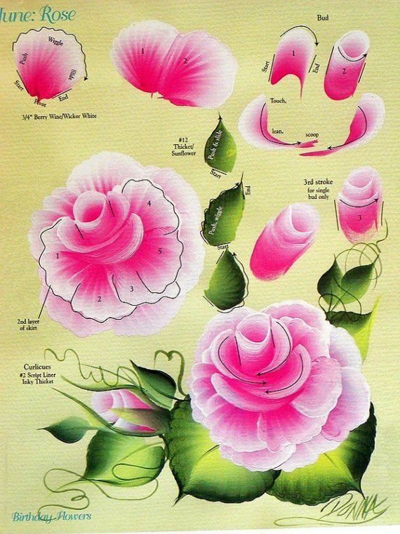 Set of ONE STROKE FLOWERS INSTRUCTIONAL by graymountaingoods