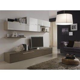 Mobile #soggiorno flat #design moderno L 270 cm larice grigio e laccato lucido vari colori - Art 1479 #arredamento