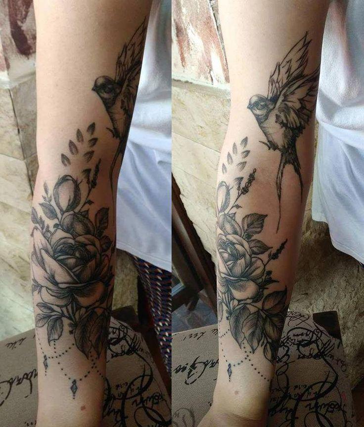 Flower With Bird On Lower Leg