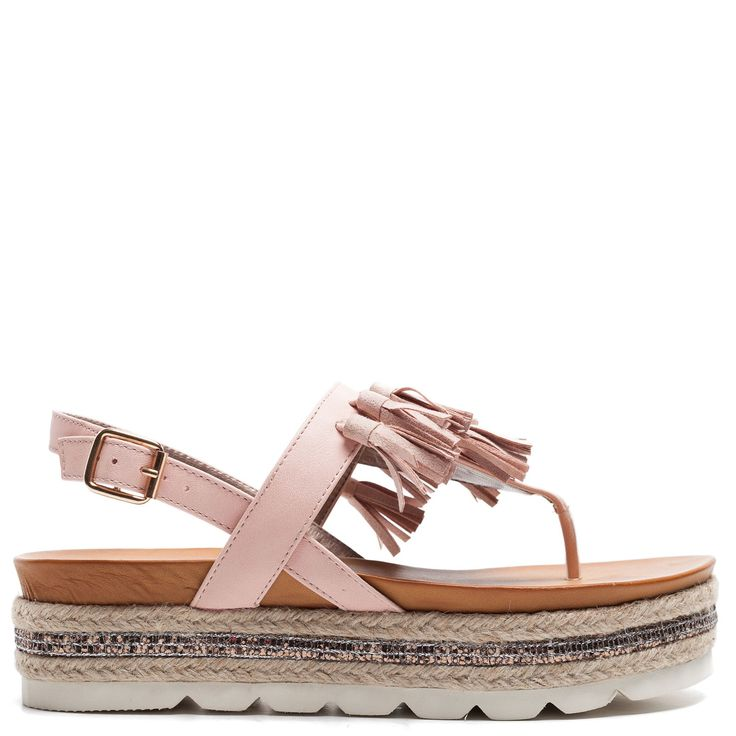 Pink flatform with tassels and decorative glitter and rope
