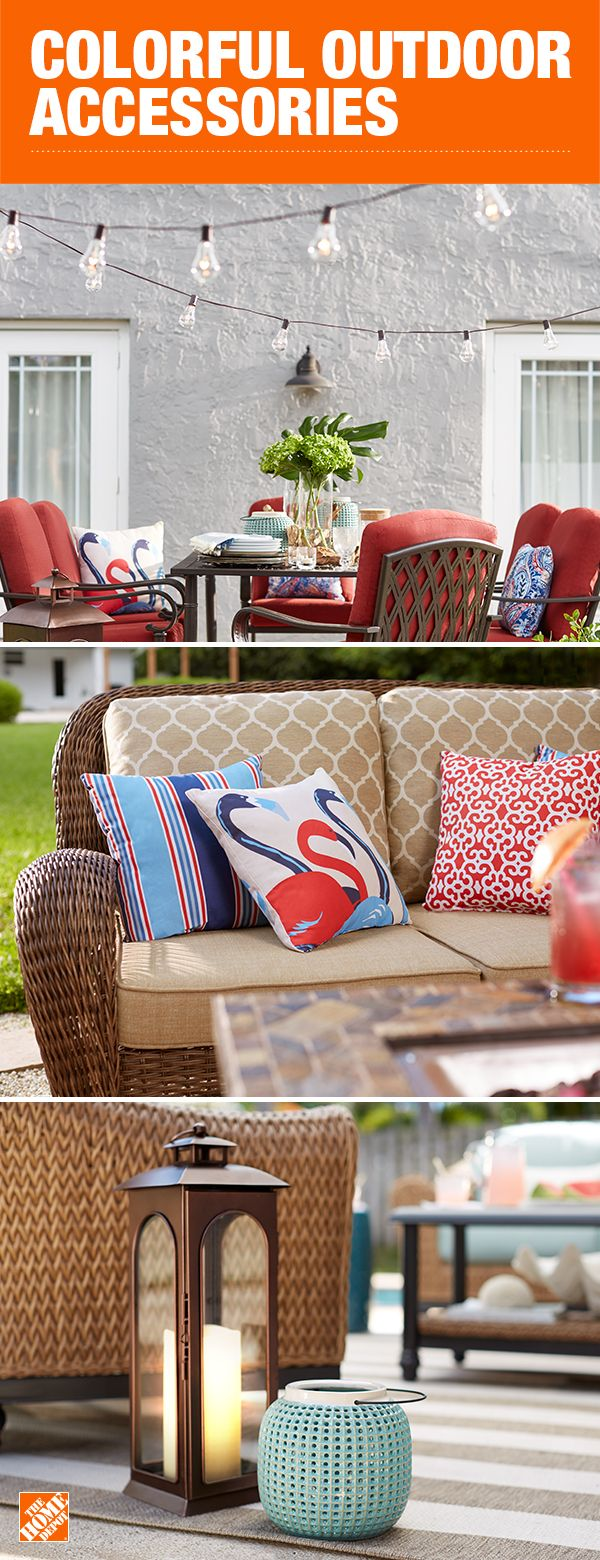 Choosing neutral materials and fabrics for your patio furniture allows you to punch up the color with  decor and change the feel from season to season. From colorful pillows to mood-setting lanterns, the finishing touches bring the whole space to life. Click to shop all the custom furniture and outdoor accessories.