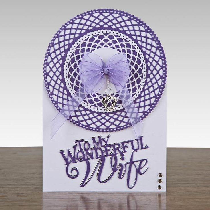 Purple and white themed card from @tonicstudiosuk! Made using the Tonic Trellis Die Set, shop now at C+C: http://www.createandcraft.tv/pp/tonic-trellis-die-set-328788?referrer=search&fh_location=//CreateAndCraft/en_GB/$s=328788 #papercraft #cardmaking