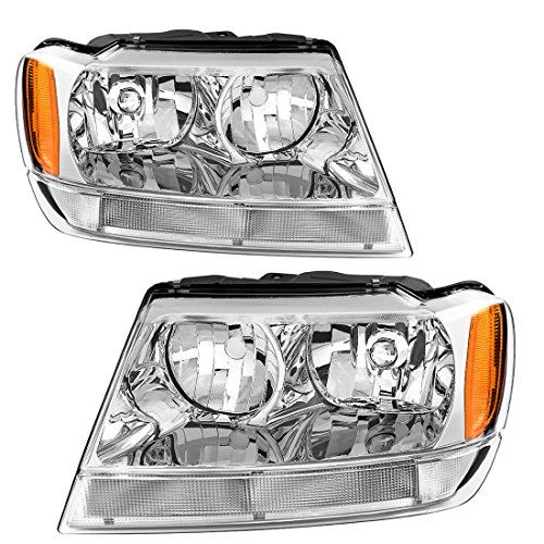For 99 00 01 02 03 04 Jeep Grand Cherokee Headlight Assembly Replacement Oe Headlamp Amber Reflector Chrome Housing 04 Jeep Grand Cherokee Jeep Grand Cherokee Headlight Assembly