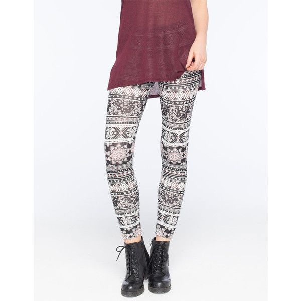 Full Tilt Medallion Ethnic Womens Leggings ($9.97) ❤ liked on Polyvore featuring pants, leggings, elastic waistband pants, tribal pattern leggings, tribal pants, print pants and tribal print pants