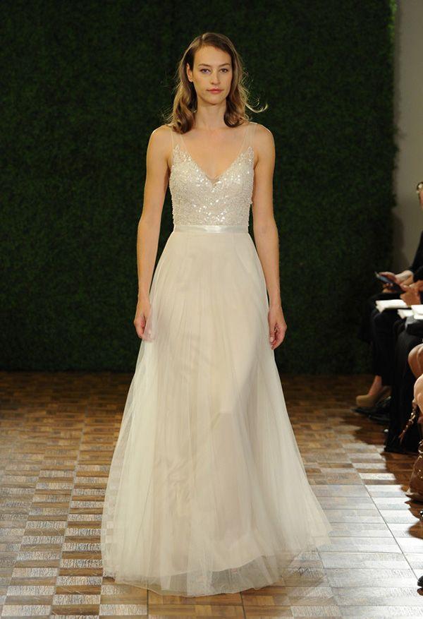 Sparkling Bodice A-Line Wedding Dress | Watters Spring 2015 | See More! http://heyweddinglady.com/bridal-market-2015-three-fab-wedding-dress-trends/