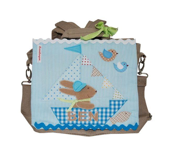 Kindergartenrucksack mit Namen- Ahoi, Kapitän Hase von wohnzwerg  http://de.dawanda.com/product/71406727-Kindergartenrucksack-mit-Namen--Ahoi-Kapitaen-Hase