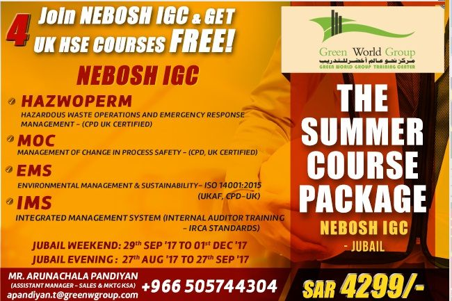 #GreenWorldGroup (GWG) is the topmost training institute for #professional #safety #courses in Kingdom of Saudi Arabia for courses like #NOBOSH, HAZWOPERM, MOC, IMS and EMS. We have 11 years of experience in HSE. Pay for NEBOSH Course and get 4 International HSE courses.