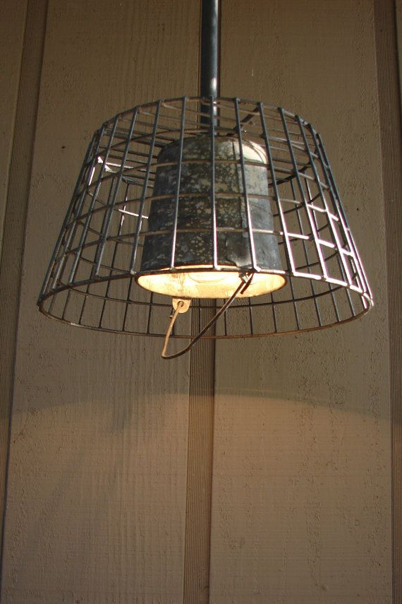 Upcycled Vintage Wire Basket and Galvanized Pail by BenclifDesigns, $105.00, industrial lights