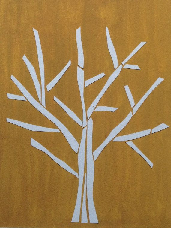Simple Paper Chick Craft: Paper Tree Gold Simple Paper Collage Bare By