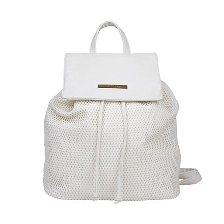 Pure white backpack with laser cuts.  #newcollection #spring2017 #backpack #bags #accessories #stylish #fashionable #minimal